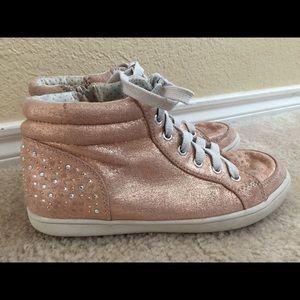 Justice Pink Glitter Hi Tops Girls Sz 5 Shoes